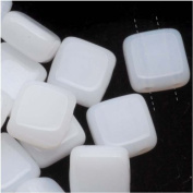 Czech Glass 2-Hole Square Beads 6mm 'Opaque White'
