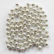 200pcs 6mm Silver Plated Hollowed Filigree Round Ball Spacer Beads