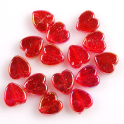 Red AB Colour Plated Heart Style Acrylic Spacer Beads Charms Loose Beads 9mm