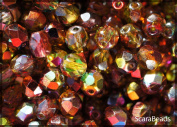 50pcs Czech Fire-Polished Faceted Glass Beads Round 6mm Magic Red-Yellow