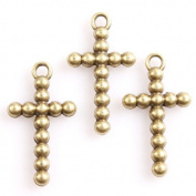 30pcs Charms Antique Bronze Ball Cross Alloy Findings