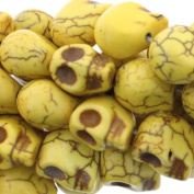 Dyed Yellow Turquoise Magnesite : Skull-Carved - 18mm Height, 14mm Width, 15mm Thickness , No Grade - Sold by