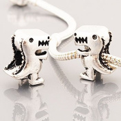 Antique Silver TREX Dinosaur Charm Spacer Bead Compatible with Pandora, Troll, Chamilia, Biagi and Other Italian Jewellery