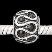 Black Onyx August Rhinestone Swirls Ball Charm Spacer Bead Compatible with Pandora, Troll, Chamilia, Biagi and Other Italian Jewellery
