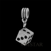 Antique Silver Dice Dangle Compatible with Pandora, Chamilia, Troll, Biagi and Other Italian Jewellery