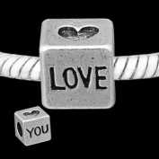 Antique Silver Love Dice Compatible with Pandora, Chamilia, Troll, Biagi and Other Italian Jewellery