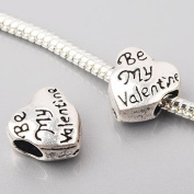 Be My Valentine Heart Bead Charm Spacer Compatible with Pandora, Biagi, Troll, Chamilia and Other Italian Jewellery