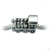 Antique Silver Train Locomotive Charm Spacer Bead Compatible with Pandora, Troll, Chamilia, Biagi and Other Italian Jewellery