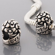 Antique Silver Love Bouquet Compatible with Pandora, Chamilia, Troll, Biagi and Other Italian Jewellery