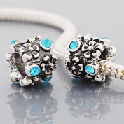 "Antique Silver ""Flowers"" Aqua Rhinestone Compatible with Pandora, Chamilia, Troll, Biagi and Other Italian Jewellery"