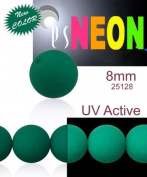 30 pcs Czech Glass Round Pressed Beads ESTRELA NEON (UV Active) Emerald Green 8 mm