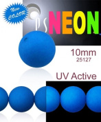 24 pcs Czech Glass Round Pressed Beads ESTRELA NEON (UV Active) Blue 10 mm