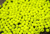 300 pcs Czech Glass Round Pressed Beads ESTRELA NEON (UV Active) Yellow 2 mm