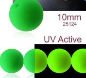 24 pcs Czech Glass Round Pressed Beads ESTRELA NEON (UV Active) Green 10 mm