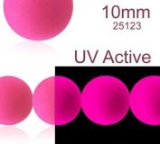 24 pcs Czech Glass Round Pressed Beads ESTRELA NEON (UV Active) Pink 10 mm