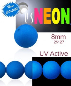 30 pcs Czech Glass Round Pressed Beads ESTRELA NEON (UV Active) Blue 8 mm