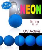 30 pcs Czech Glass Round Pressed Beads ESTRELA NEON (UV Active) Blue 8 mm