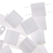 Opaque White Tila Beads 7.2 Gramme Tube By Miyuki Are a 2 Hole Flat Square Seed Bead 5x5mm 1.9mm Thick with .8mm Holes