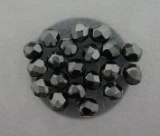 20 JET BLACK CZECH FIRE CRYSTAL FACETED BEADS 6MM