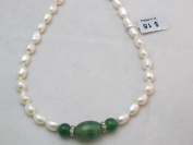 Fresh Water Pearl Beads Cultured Pearl Nature Pearl Rice Shape with Green Agate 8-9mm 17'' Per Strand Jewellery Making Jewellery Design