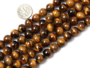 Varies Size Round Tiger Eye Stone Beads Strand 38cm Jewellery Making Beads