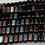 Czechmate 2mm X 6mm Brick Glass Czech Two Hole Bead - Lustre Metallic Amethyst