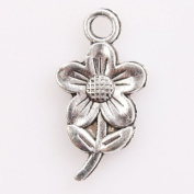 50pcs Vintage Silver a Flower Charms Findings