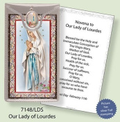 Rosarybeads4u Our Lady Of Lourdes Silver Foil Etched Verse Prayer Card & Medal Pendant