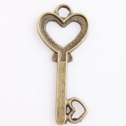50pcs Charms Antique Bronze Key Shaped Heart Accessories Alloy Findings