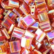 Miyuki 5mm Tila 2 Hole Sq Beads TRANS TOPAZ AB Crystal Pearl Beads 7.2Gr No257