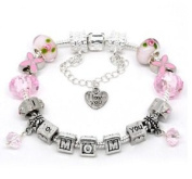 Silver Polished Pink I Love You Mom Mothers Day European Style Bracelet Premade With Charm Beads