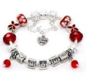 Silver Polished Red I Love You Mom Mothers Day European Style Bracelet Premade With Charm Beads