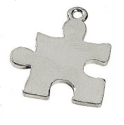 20 Silver Tone Steel Puzzle Piece Charms Autism Aspergers Awareness 7/8 inch 23mm Package of 20 Charms