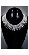 Crystal Rhinestone Necklace Chain and Earring Set, Crystal / Silver, NEC-2095