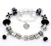 Silver Polished Black I Love You Mom Mothers Day European Style Bracelet Premade With Charm Beads