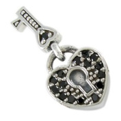 Black CZ Heart Key Lock European Bead