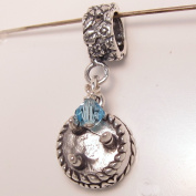 Birthday Cake March, Aquamarine. Crystal, Birthstone Sterling Silver Dangle Charm