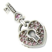 October CZ Heart Key Lock European Bead