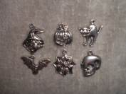Metal Halloween Charms - Pumpkin, Bat, Cat, Witch, Spider Web, Skull