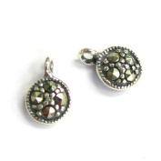 2 pcs .925 Sterling Silver Marcasite Round Charm Tag Pendant 9mm / Findings / Antique