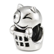 Sterling Silver Cat in Basket European Bead