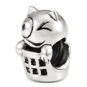 Sterling Silver Cat in Basket European Bead