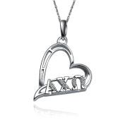 Alpha Chi Omega Heart Shape Silver Lavalier
