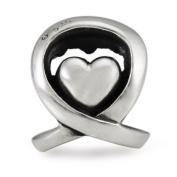 Authentic Ohm Beads Care Ribbon Heart Fits European Bead Bracelets