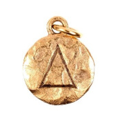 "Chelsea Hill Charm, ""Delta"" Sorority Symbol 14K Gold-Plated Hammered Pewter Charm"