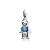Sterling Silver Antiqued Enamelled Marine Blue Boy