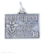Sterling Silver COLORADO State Map Outline Word Charm