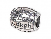 Zable(tm) Sterling Silver Live/Love/Laugh Pandora Compatible Bead / Charm
