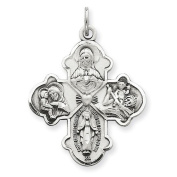 Sterling Silver Antiqued 4-way Medal Pendant. Metal Wt- 4.4g
