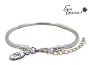 .925 Authentic EvesErose Anti-Tarnish Silver Charm Bracelet Simple Lobster Clasp Bright Sterling Fits Charm Beads Such as EvesErose, European, Pandora, Troll, Biagi, Chamilia & Other Similar Charms/Beads (You Pick)!